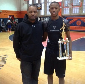 Rickey Rivers of Fun Sport Inc and co- Sportsmanship 8th grader Scottie Lewis